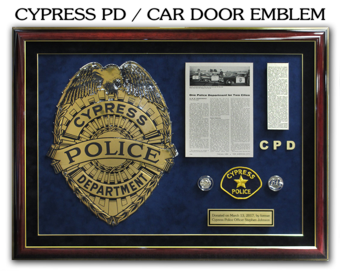 Cypress PD Archive Car Door Emblem presentation from Badge Frame