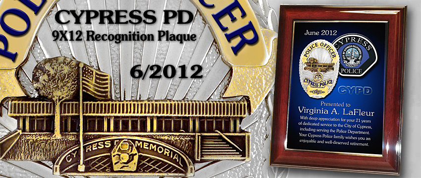 Cypress                   Recognition Plaque
