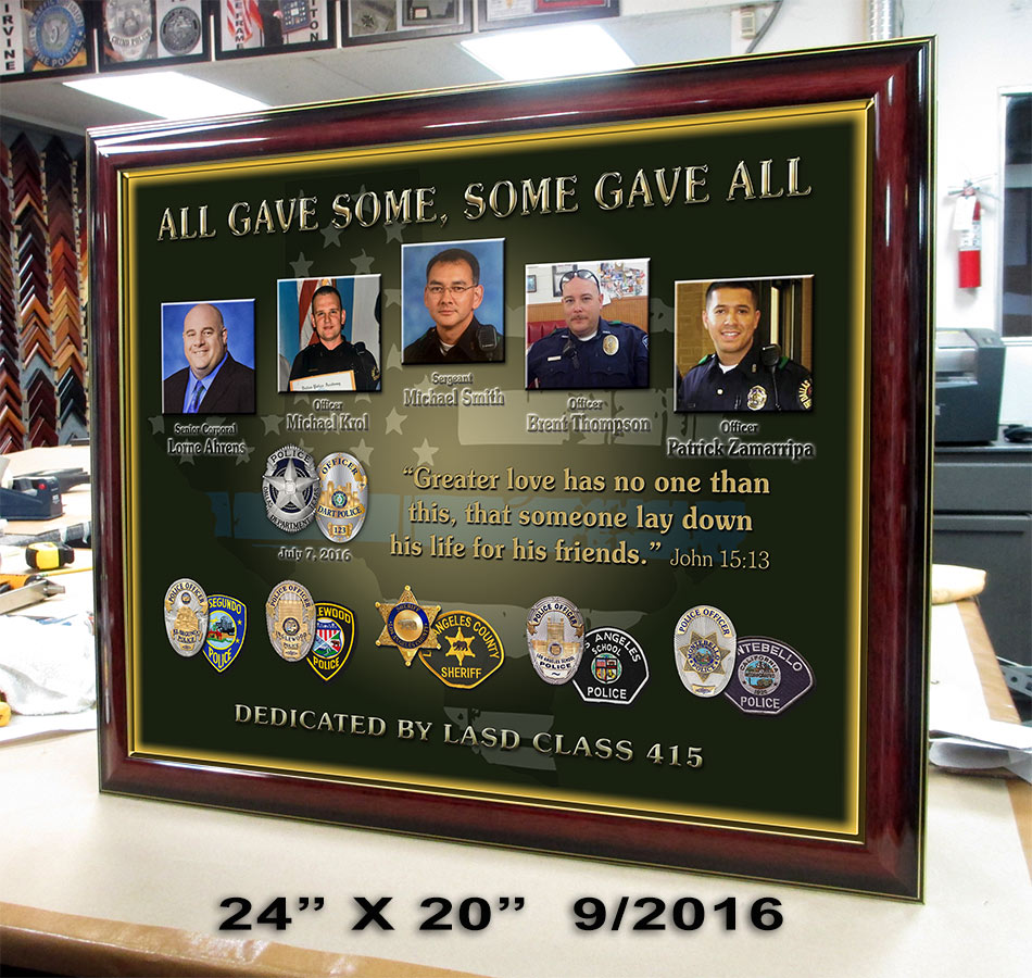 Dallas Fallen Officers presentation           from Badge Frame