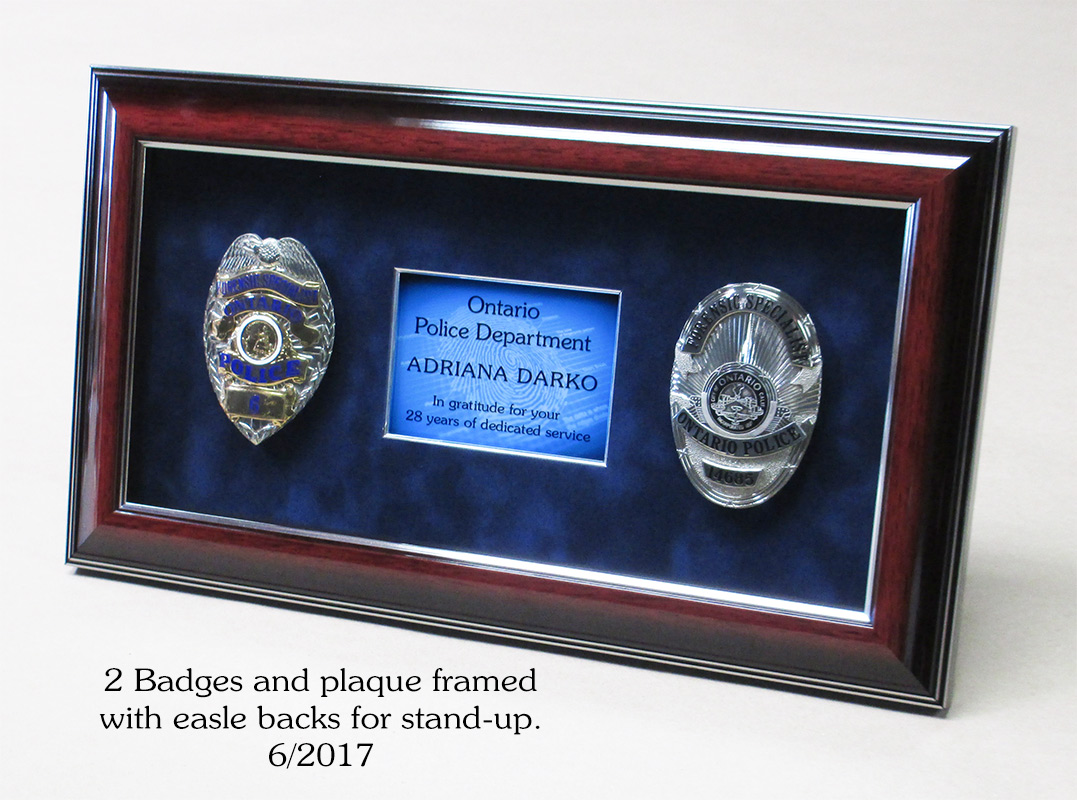 2 Badges Framed for Darko from Ontario PD from Badge Frame
