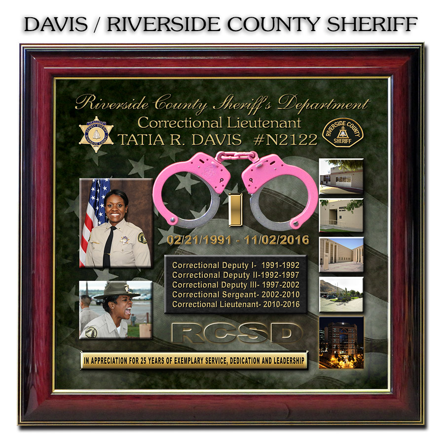 Davis - Riverside County                   Sheriff's Department - Retirement Shadowbox from Badge                   Frame