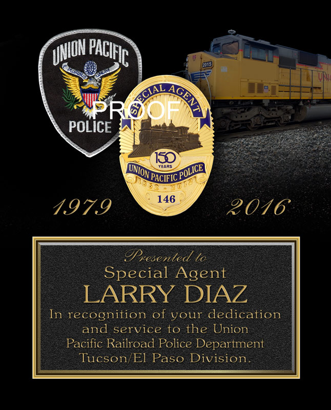 Union Pacific Recognition plaque from Badge Frame
