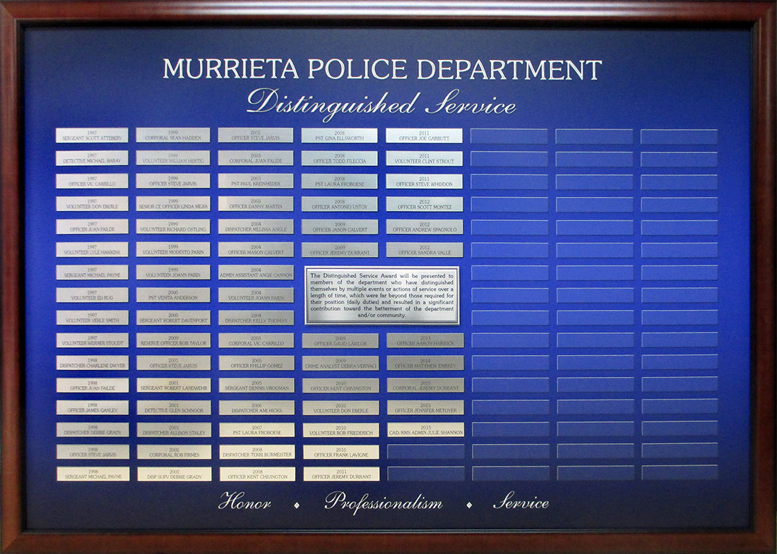 Murrieta PD Distinguished Service PD                             presentation from Badge Frame
