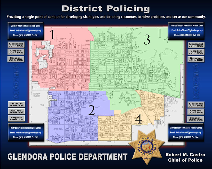 Glendora PD - District Policing Map sign