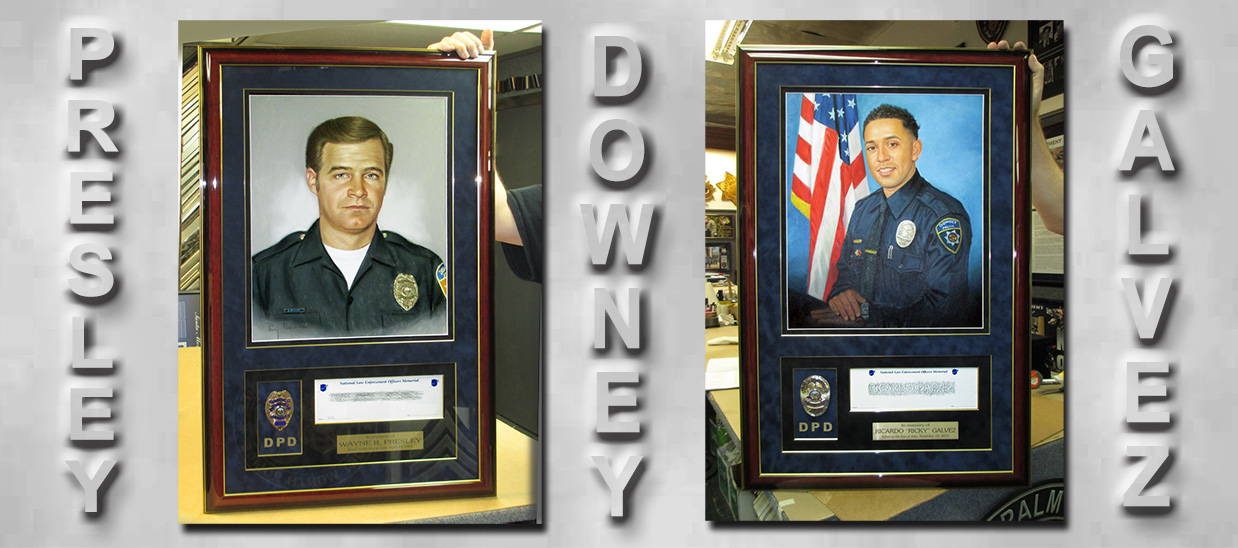 Downey PD - Fallen Officers           - Custom Framed by Badge Frame