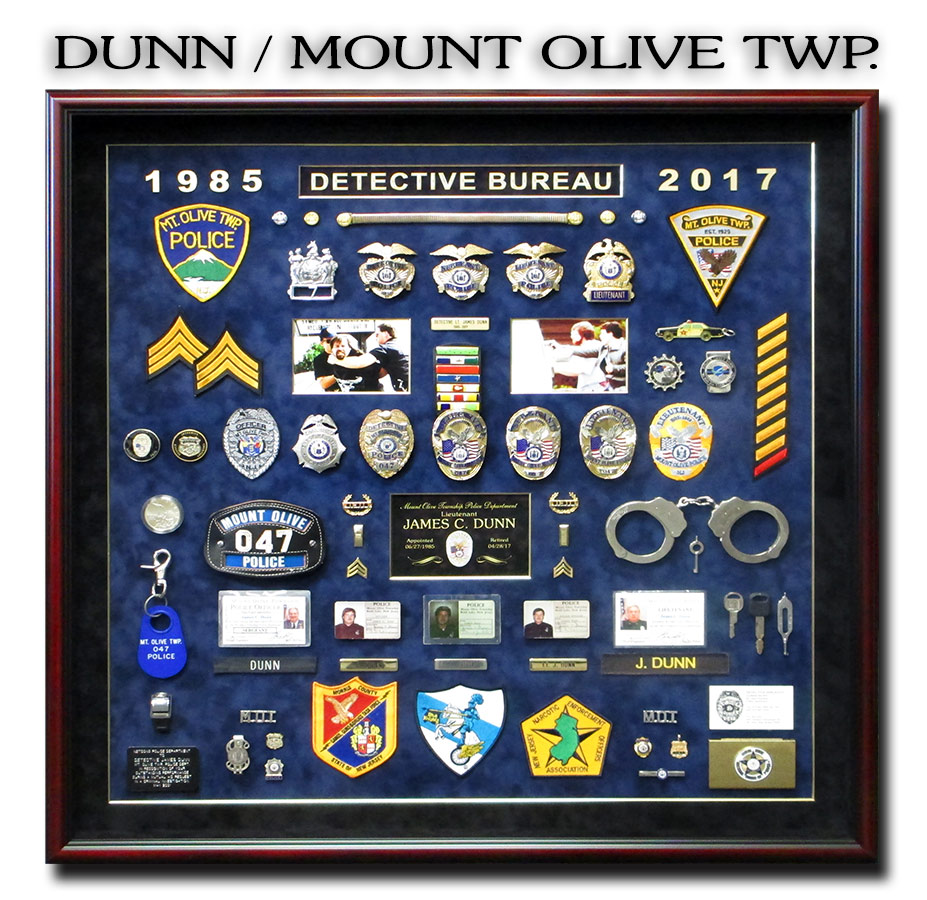 Mount Olive Twp. PD Police Shadowbox for Dunn from Badge Frame