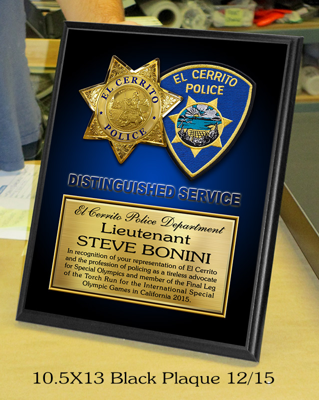 El Cerrito           PD 10.5 X 13 Recognition Plaque from Badge Frame