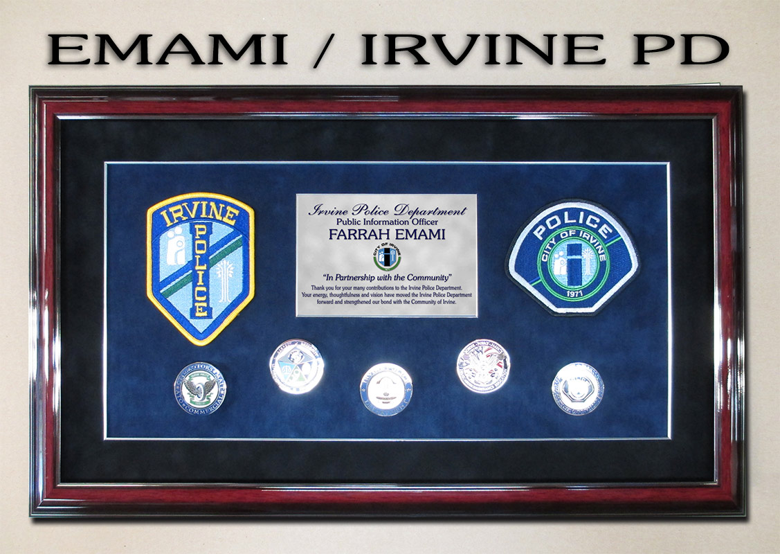 irvine, police, badge frame