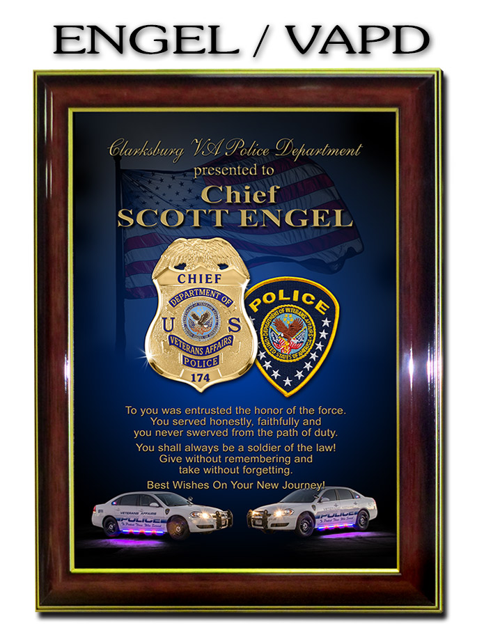 Chief Engal - DVAPD - Framed Recognition Plaque from           Badge Frame