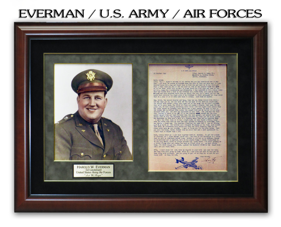 Everman - U.S. Army / Air Forces presentation from Badge Frame