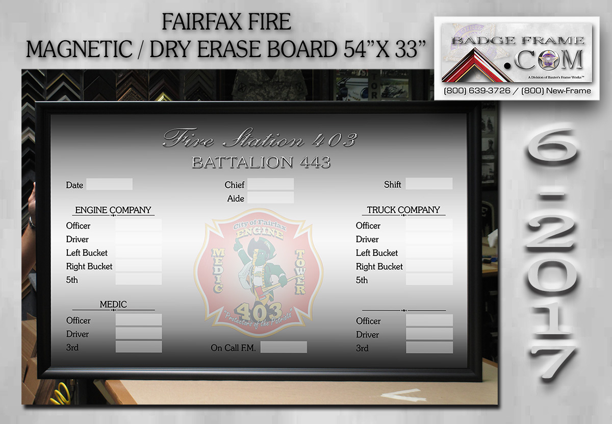 Fairfax Fire - Magnetic - Dry Erase Board from Badge Frame