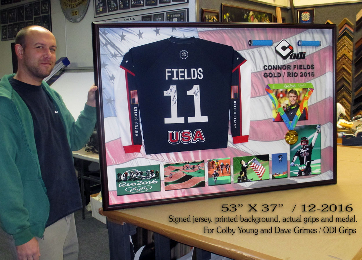 Rio Gold Medal - Fields - Signed jersey from badge Frame 12/16