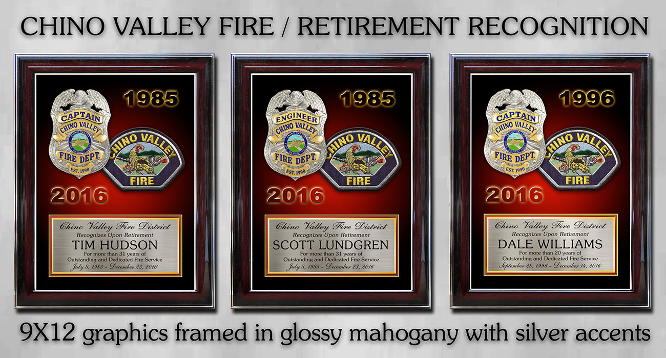 Chino Valley Fire Retiement Recognition from Badge Frame