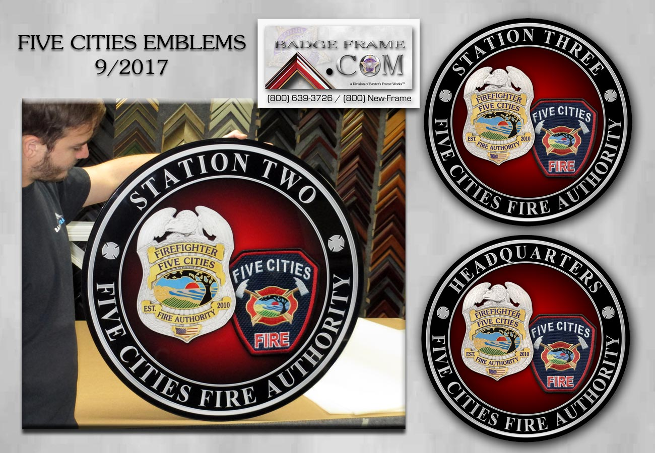 Five Cities Fire Station Emblems from Badge Frame 9/2017