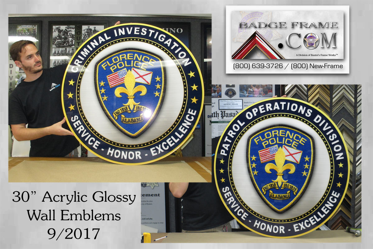 "Florence 30"" glossy Seals from Badge Frame"