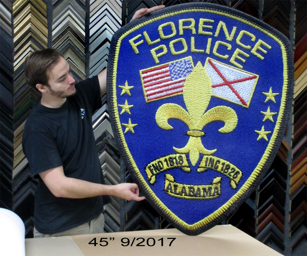 Floence PD Oversize Wall Police Patch from Badge Frame 8/2017