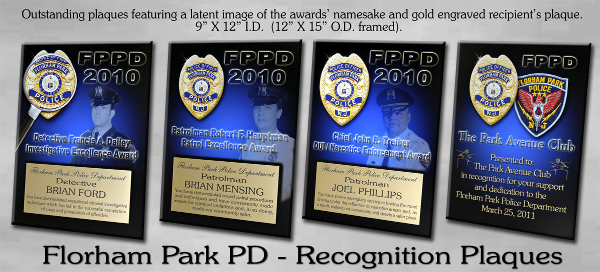 Recognition Plauqes for Florham Park PD