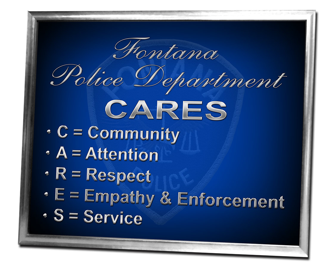 Fontana PD - C.A.R.E.S. Framed             sign from Badge Frame