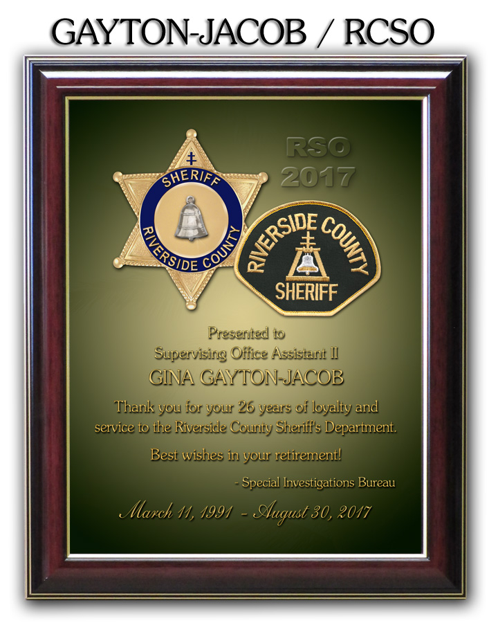 Gayton-Jacob Riverside County Sheriff Retirement from Badge Frame