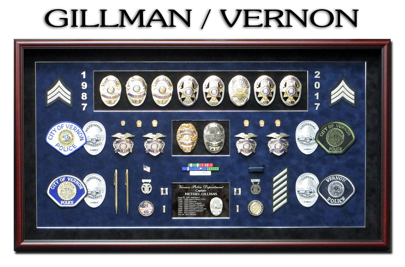 Police Shadowbox for Gillman - Vernon PD from Badge Frame