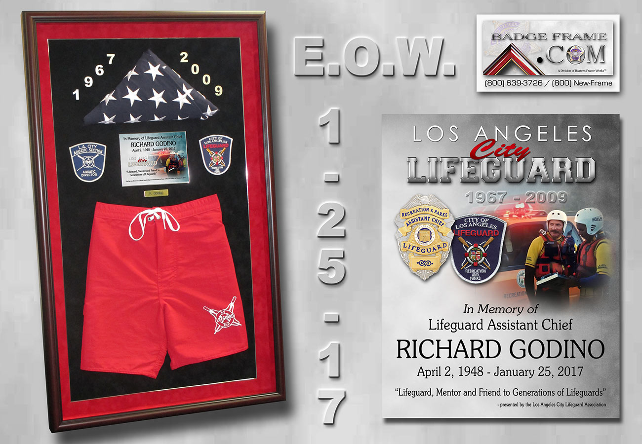 E.O.W. / Fallen           L.A. Lifeguard Presentation from Badge Frame for Godino