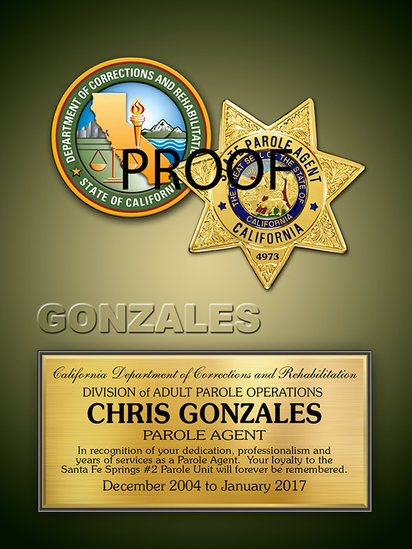 CDCR Recognition Plaque