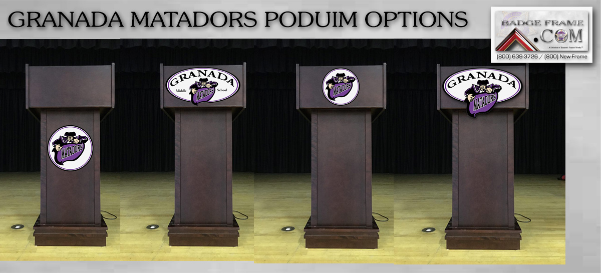 Granada Matadors Podium Options from                             Badge Frame