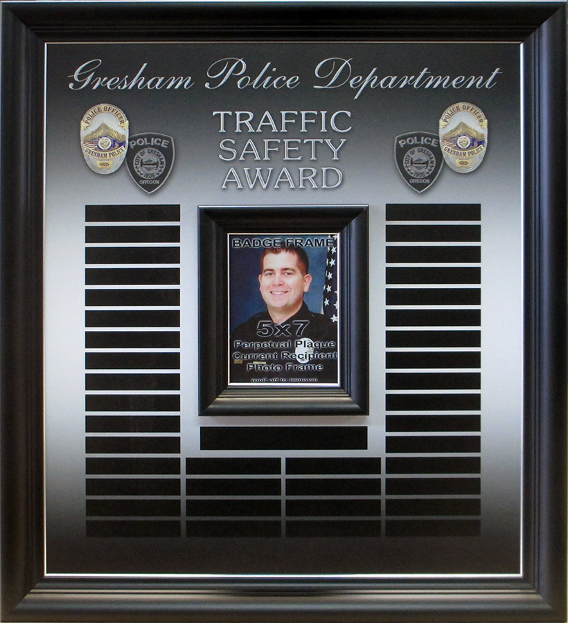 Gresgam PD -                             Traffic Safety Perpetual Plaque from Badge                             Frame 8/2016
