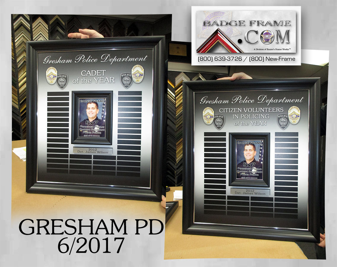 Gresham PD Perpetual Plaque from Badge Frame