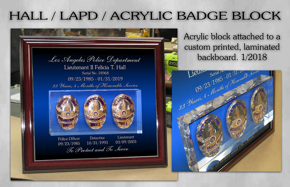 Hall - LAPD Acrylic Block Badges