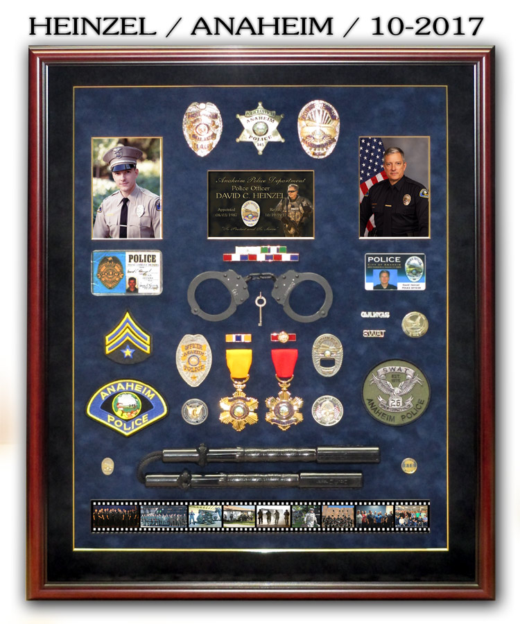 Heinzel / Anaheim PD Police Retirement Shadowbox from Badge Frame