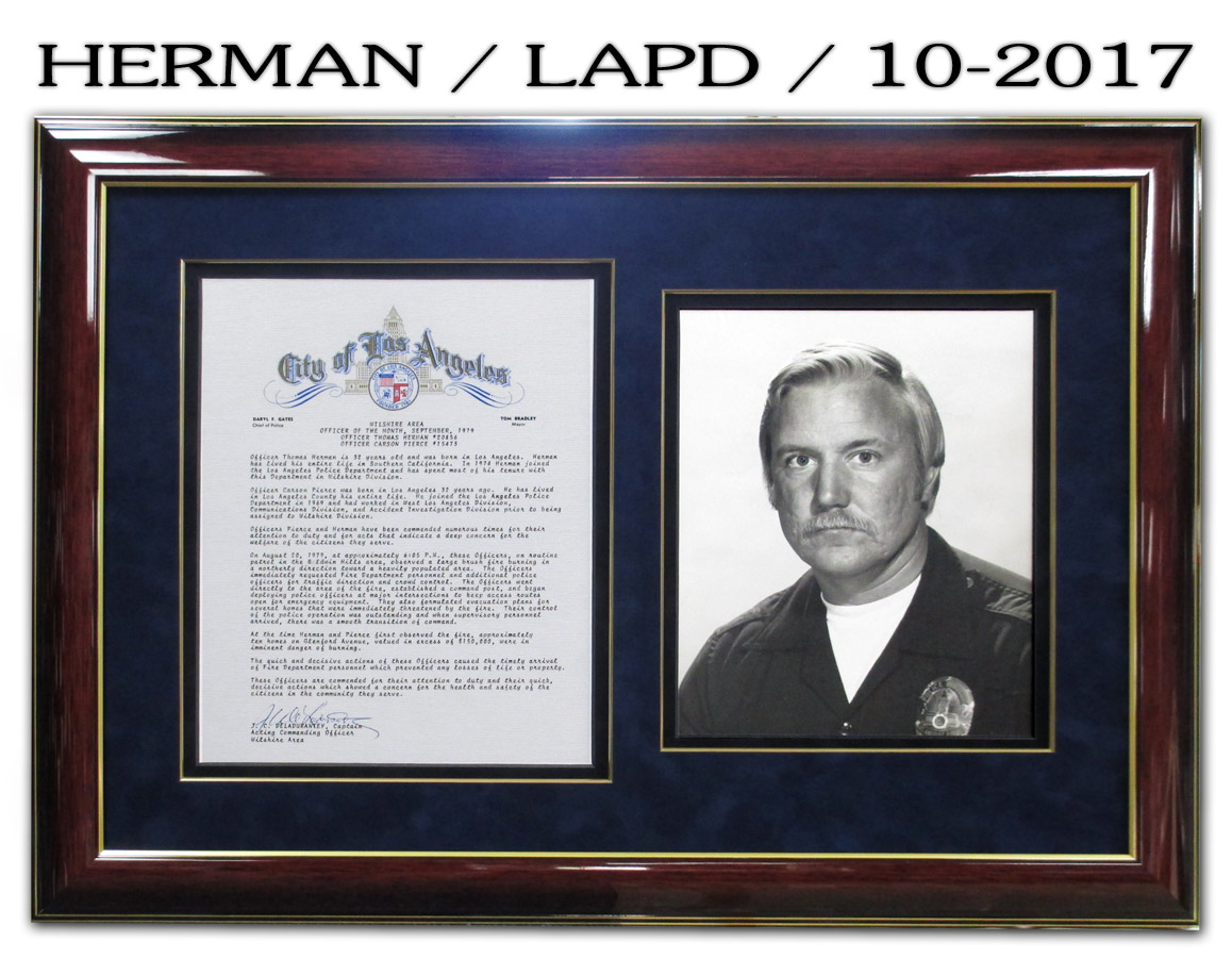 Herman / LAPD commendation and photo from Badge Frame