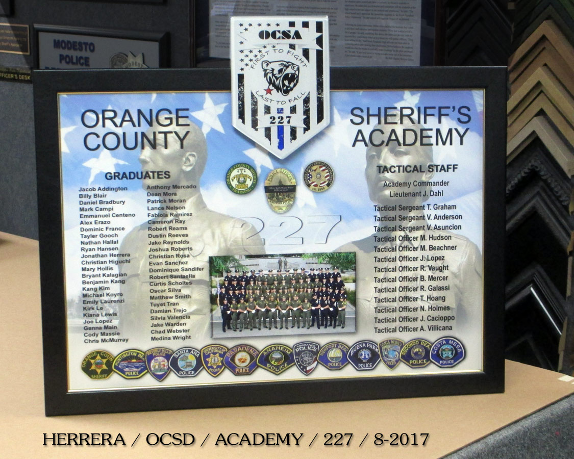 OCSD Academy #227 presentation from           Badge Frame
