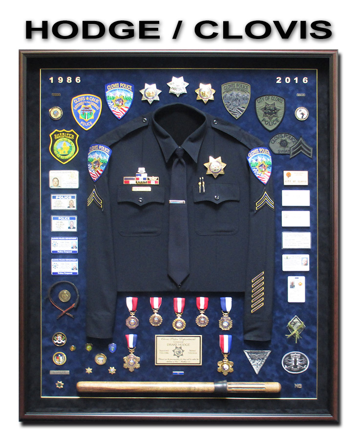Hodge - Clovis PD Retirment             Police Shadowbox from Badge Frame