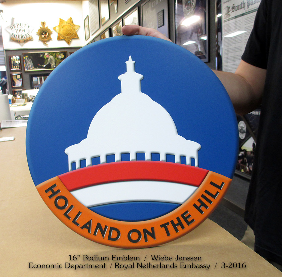 Holland on the                             Hill - Netherlands Embassy Podium Emblem for                             Badge Frame