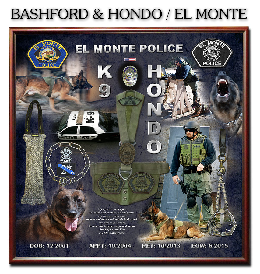 K-9 Shadowbox by Badge Frame for Bashford & Hondo - El Monte PD