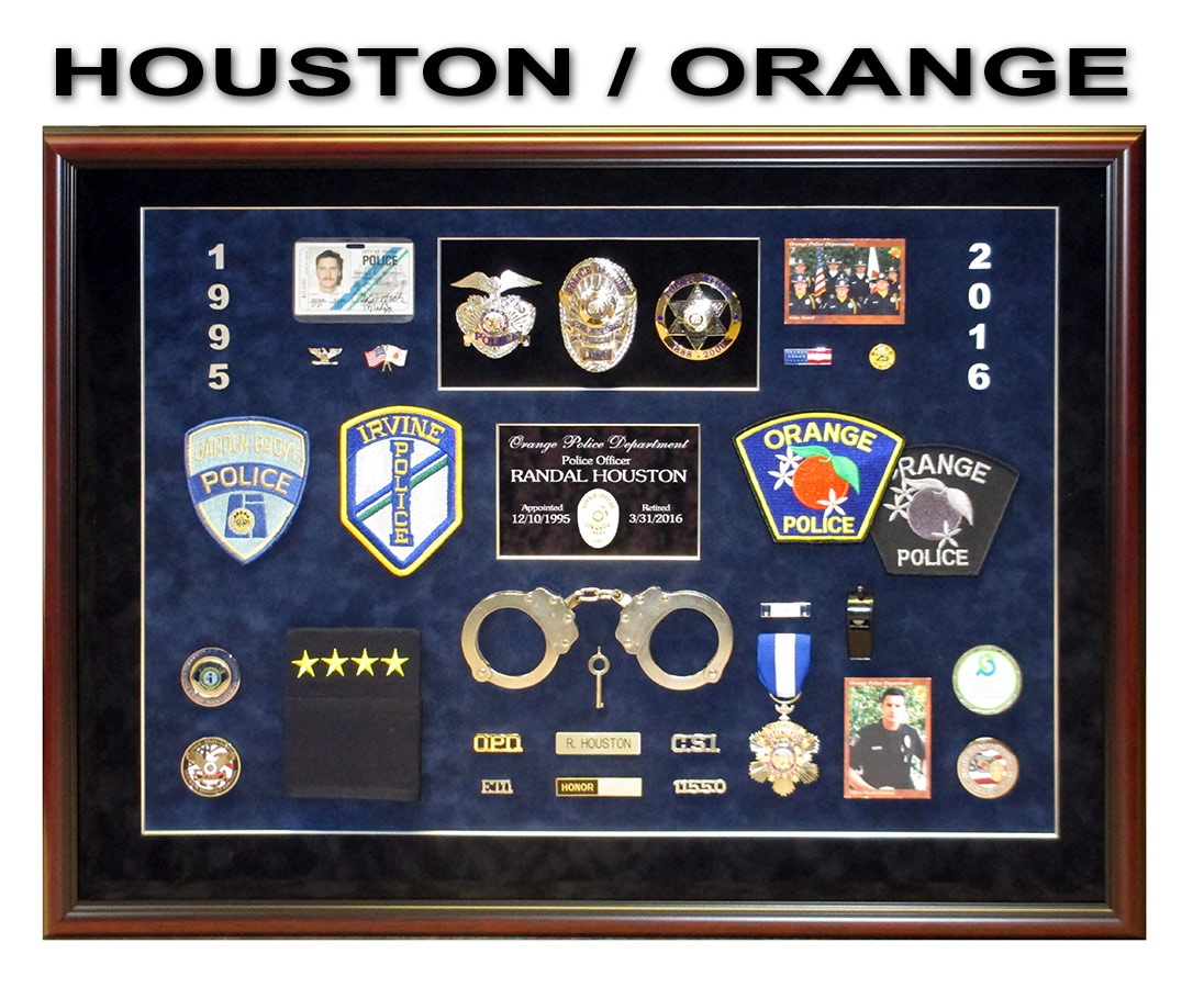 Houston - Orange PD - Police Shadowbox from Badge Frame