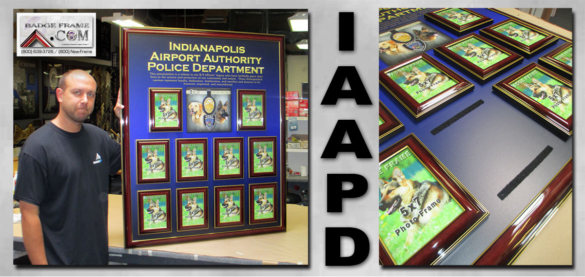 Indianapolis Airport           Authority Police Department - K-9 Perpetual Plaque from Badge           Frame