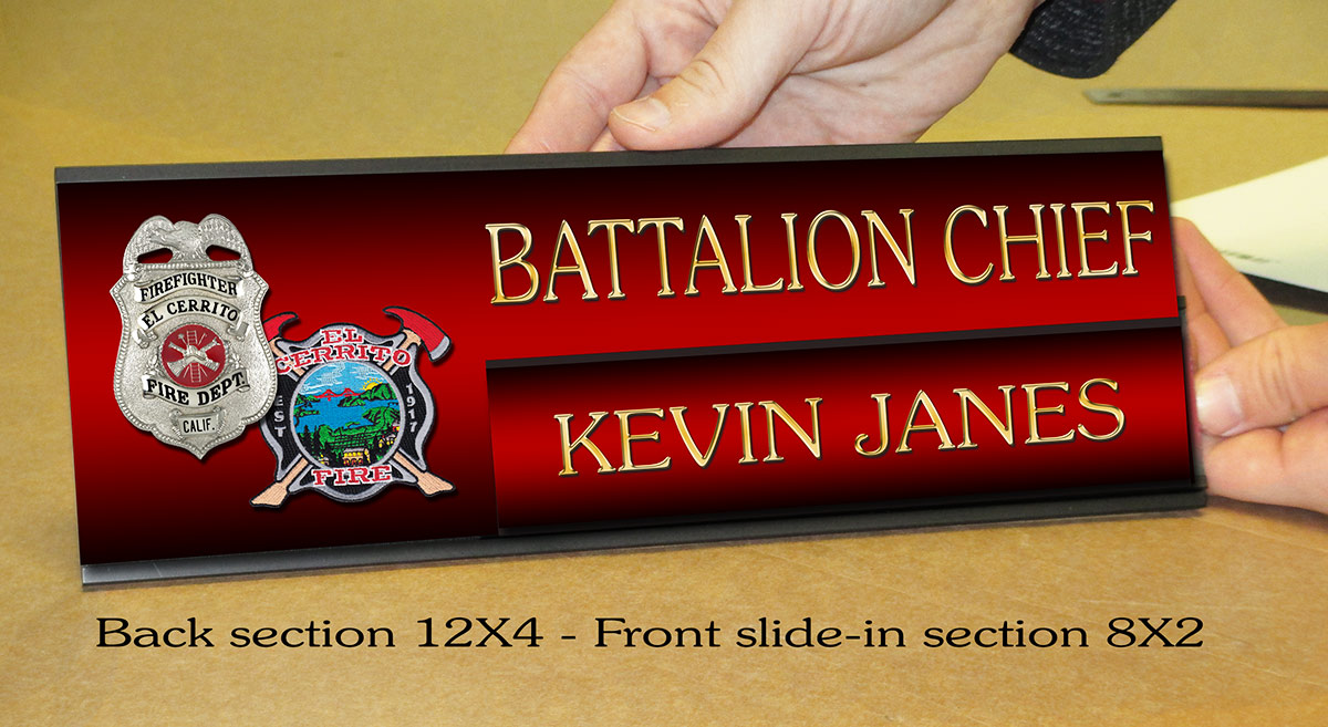 Slide-in Door Sign from  Badge Frame for Janes / El Cerrito Fire