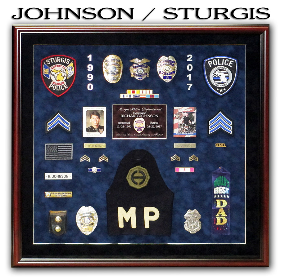Johnson for Sturgis PD Police Retirement presentation from Badge Frame