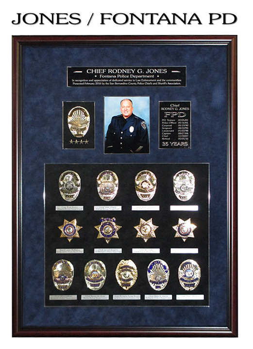 Chief                             Jones - Fontana PD - Retirement Badge                             Collection from Badge Frame
