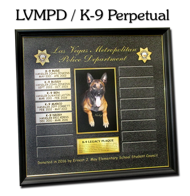 k9, perpetual                             plaque, badge frame