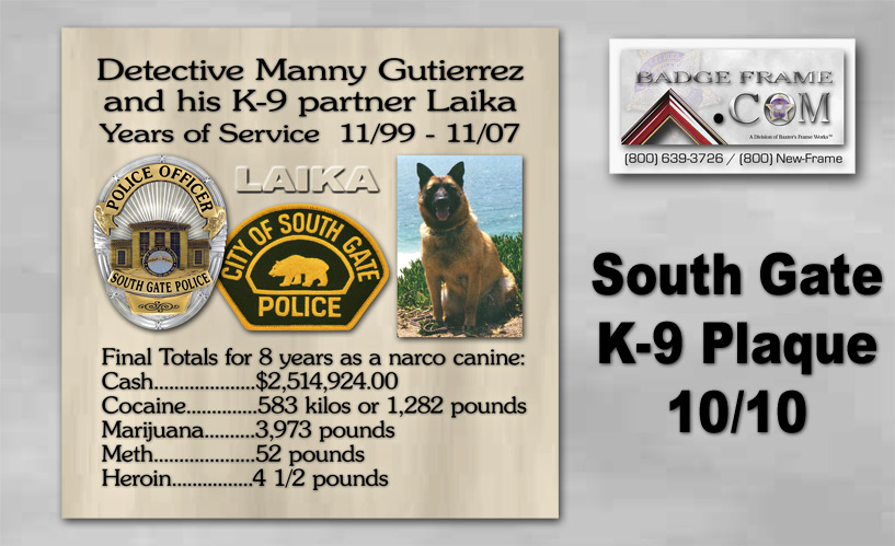 South Gate PD K-9               Plaque