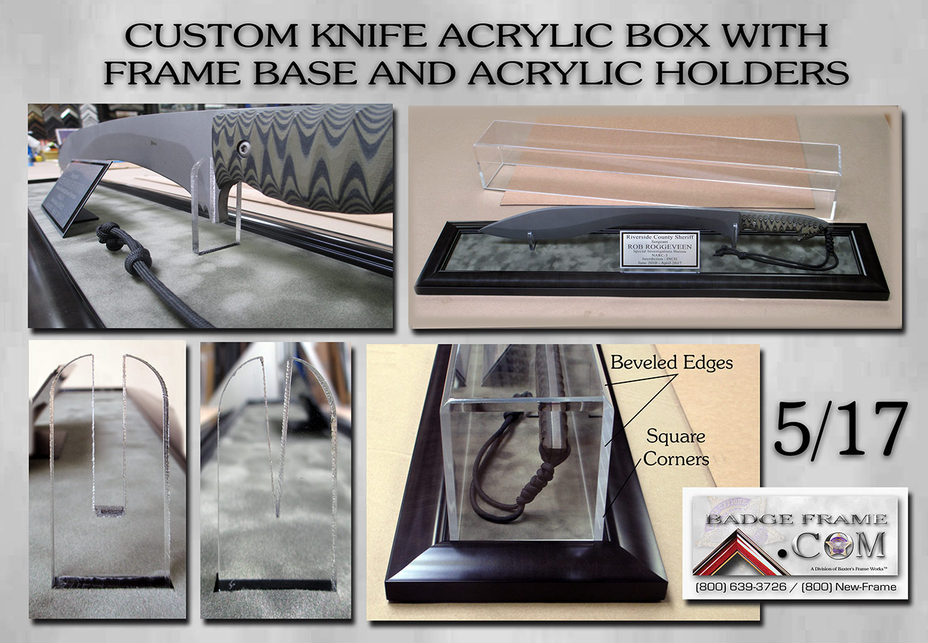 Knife box - Acrylic with holders from           Badge Frame