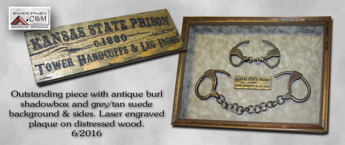 Badge Frame,                                   Kansas State Prison, Laser Engraved                                   Plaque