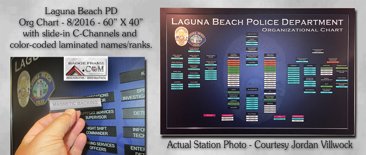 Laguna                             Beach PD Organizational Chart from Badge                             Frame 8/2016