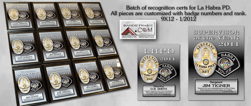 La Habra PD Recognition Certs