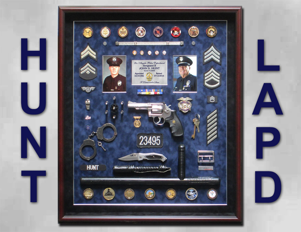 LAPD - John Hunt Police             Retirment Shadowbox from Badge Frame
