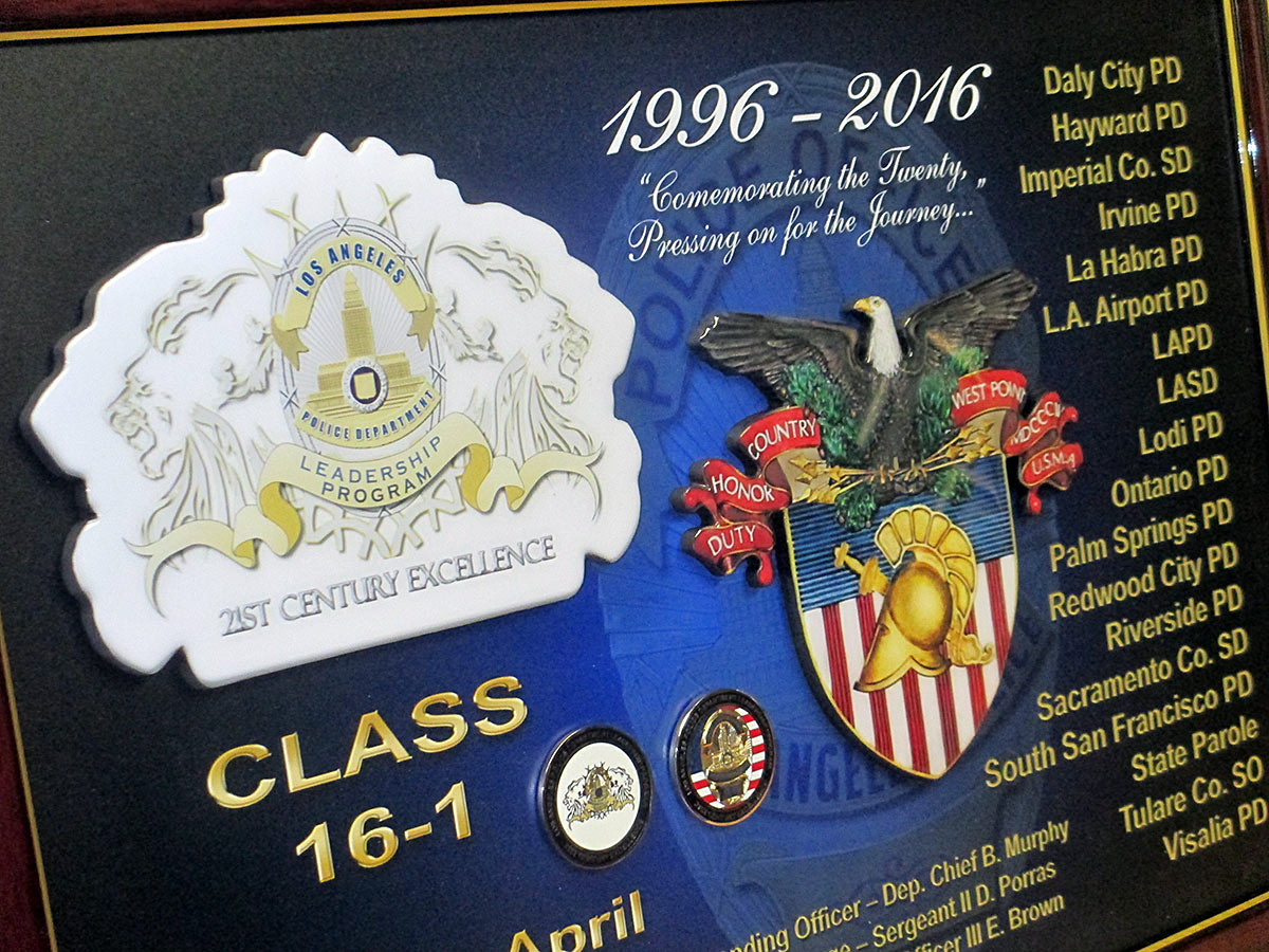LAPD Leadership           Plaque from Badge Frame