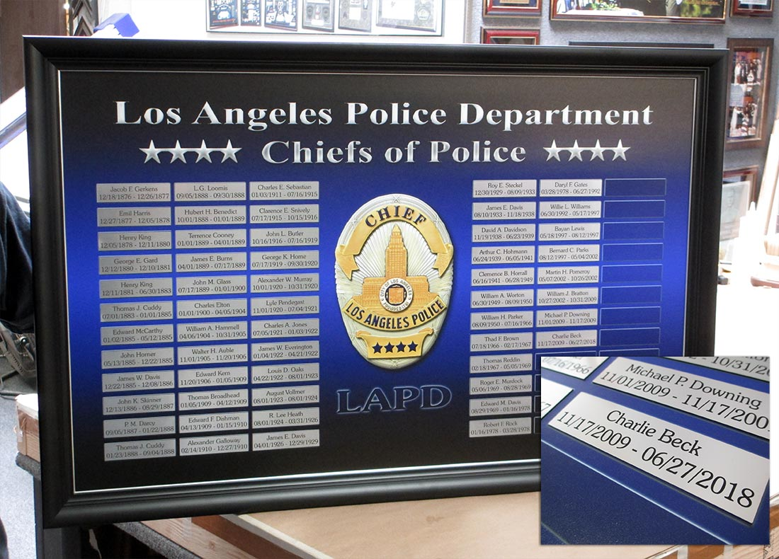 LAPD Chiefs Perpetual Plaque from Badge Frame